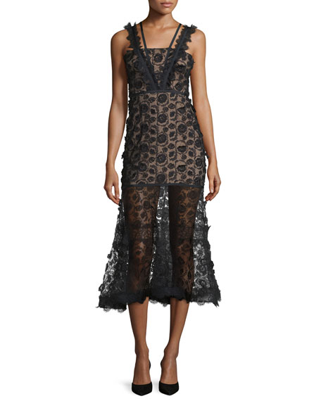Lorelle Sleeveless Embroidered Lace Midi Dress, Black