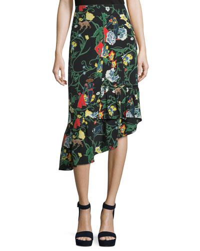 Gypsy Printed Silk Asymmetric Midi Skirt, Blamu
