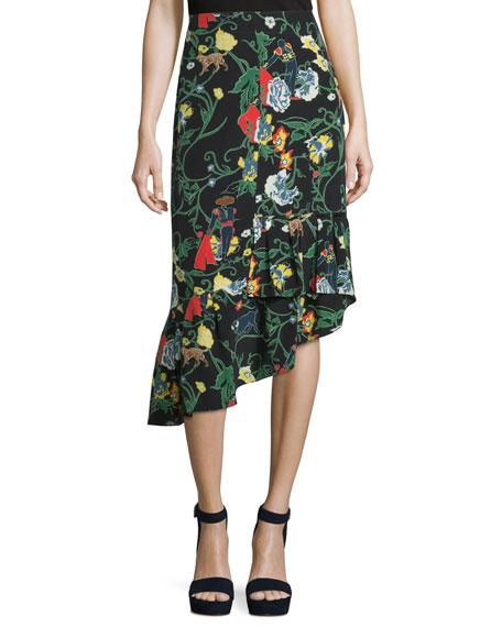 Tibi Gypsy Printed Silk Asymmetric Midi Skirt, Blamu