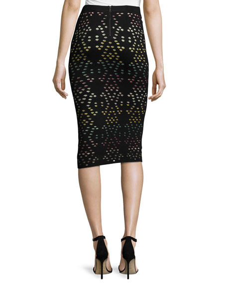 Ani Laser-Cut Multicolor Pencil Skirt