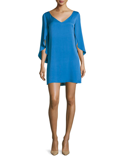 V-Neck Butterfly-Sleeve Silk Crepe Dress, Teal