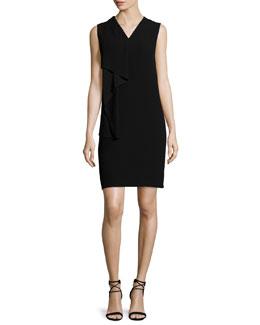 Hardy V-Neck Ruffle Dress, Black