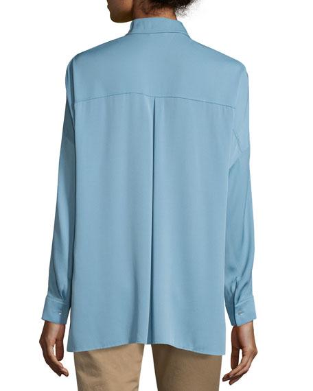 Long-Sleeve Split-Neck Silk-Blend Blouse