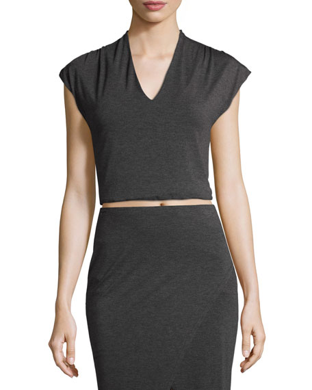 Kelis Slub Jersey Cropped Top, Charcoal
