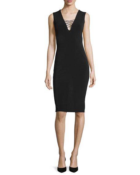 Asha Lace-Front Sheath Dress, Black
