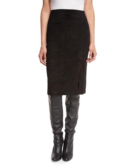 Alice + Olivia Tani Suede Pencil Skirt, Black
