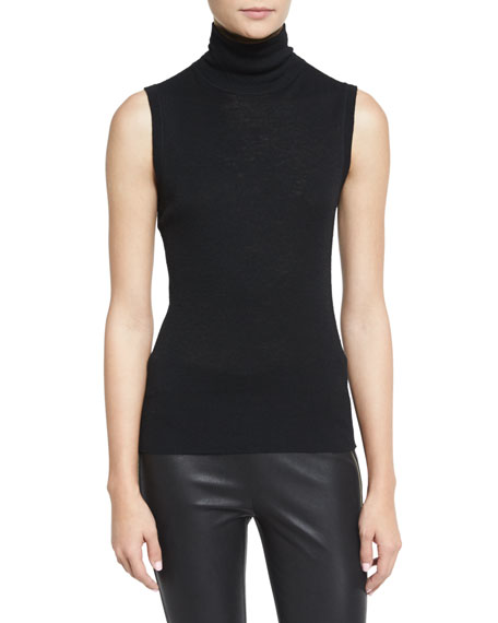 Briony Sleeveless Slub Turtleneck Top, Black