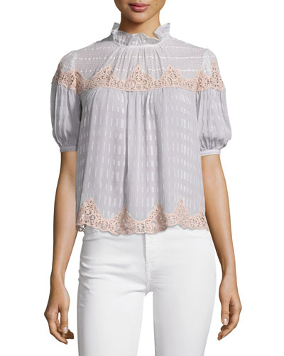 Clip-Mix Lace-Trim Short-Sleeve Blouse