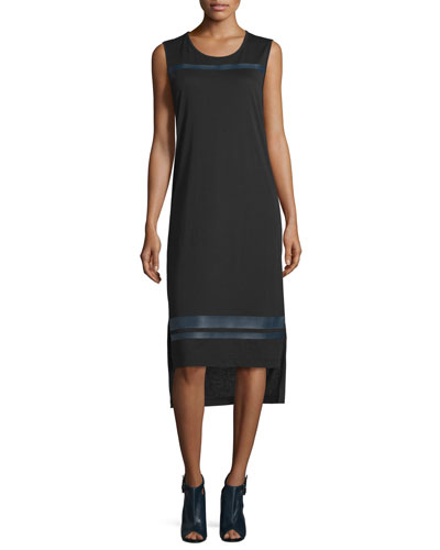 Nevin Sleeveless Jersey Midi Dress, Black