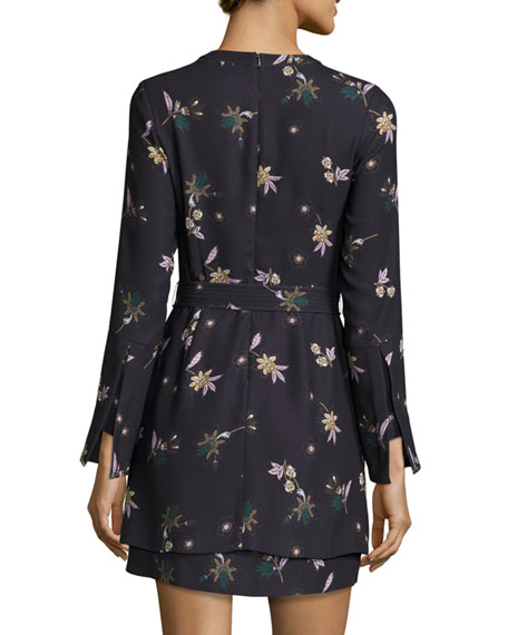 Jardani Belted Floral Silk Mini Dress, Blue
