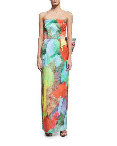 Strapless Abstract Floral-Print Column Dress W/ Bow Back