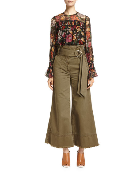 Serge Belted Wide-Leg Cropped Trousers, Olive