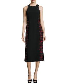Faye Embroidered & Studded Midi Dress