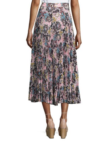 Williams Pleated Floral Midi Skirt, Blue/Mustard