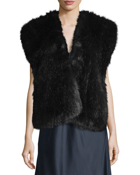Faux-Fur Surplice Vest, Midnight Navy