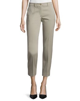 Flat-Front Straight-Leg Pants, Sand