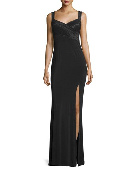 Sleeveless Crisscross-Bodice Evening Gown, Black