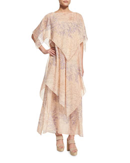 Floral-Print Silk Tiered Boat-Neck Caftan