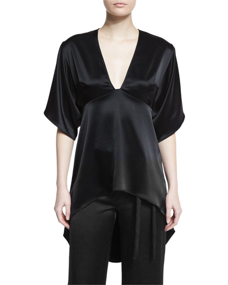 Half-Sleeve High-Low Satin Kimono Top, Black