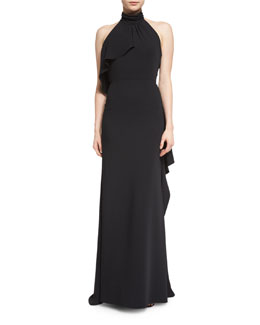 Halter-Neck Gown W/Side Ruffle, Black