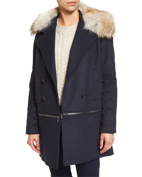 Antares Convertible Double-Breasted Coat, Navy