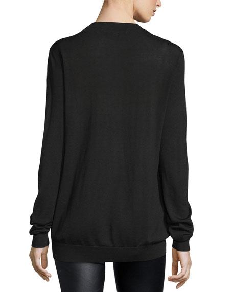 Fair Isle Swallow Wool Sweater, Black