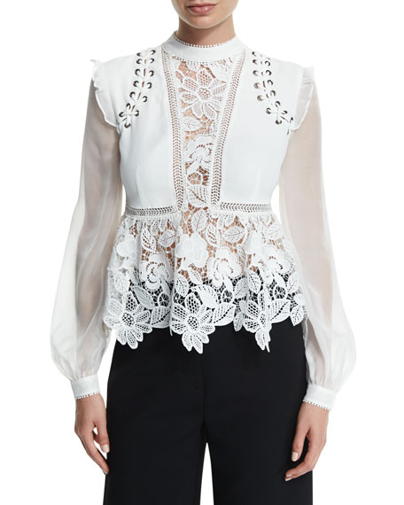 Floral-Lace Long-Sleeve Top, Cream