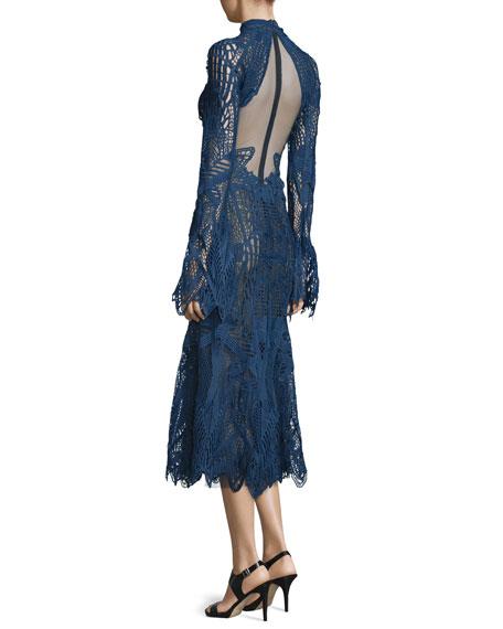 Lace Mock-Neck Midi Flare Dress, Navy