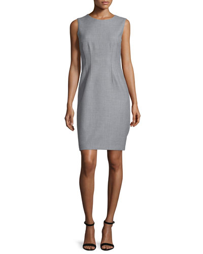 Tera Sleeveless Sheath Dress, Gray Melange