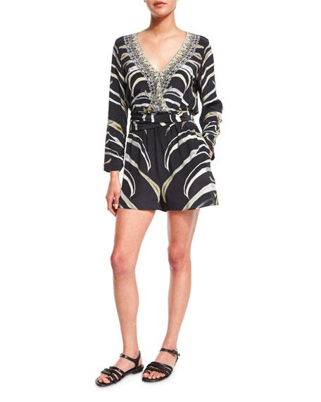 Camilla Embellished Wrap-Front Long-Sleeve Playsuit, Zebra Crossing