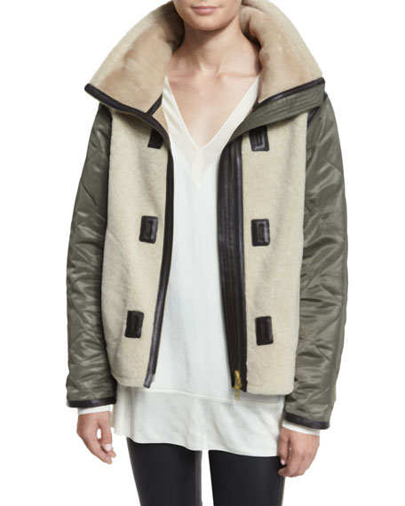 Elson Shearling Fur Liner Jacket, Natural