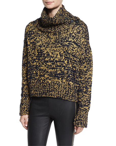 Sandra Cropped Melange Turtleneck Sweater, Navy/Gold