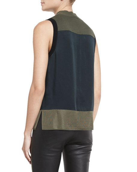 Vivienne Paneled Colorblock Tank, Black/Green/Navy