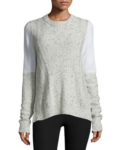 Tamara Melange Cashmere Pullover Sweater, Light Gray