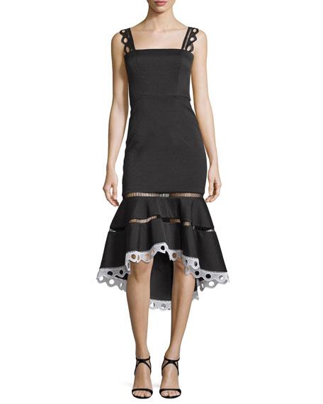 Marcelina Lace-Trim Mermaid Dress, Black