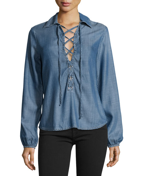 Lace-Up Chambray Blouse, Hadley