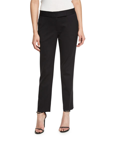 Milly Tapered Gabardine Ankle Pants, Black