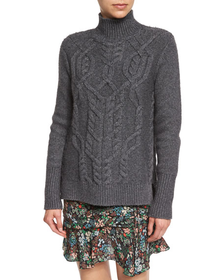 Cable-Knit Turtleneck Wool-Blend Sweater, Charcoal