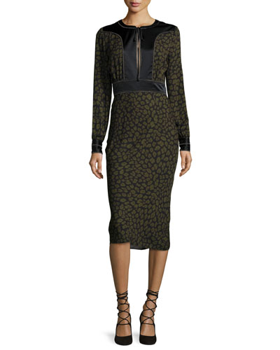 Drifter Long-Sleeve Silk Animal-Print Midi Dress, Green