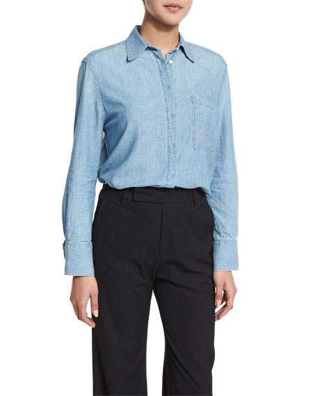 Oversized Chambray Button-Down Top, Bonneville