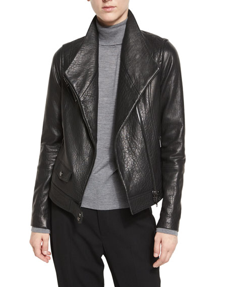 Leather Asymmetric Moto Jacket, Black