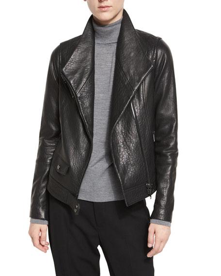 Leather Asymmetric Moto Jacket, Black