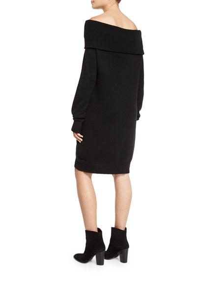 Long-Sleeve Knit Off-the-Shoulder Shift Dress, Black