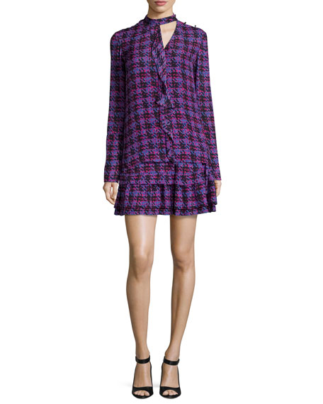 Silk 2-in-1 Houndstooth Flounce Dress, Cobalt/Multicolor