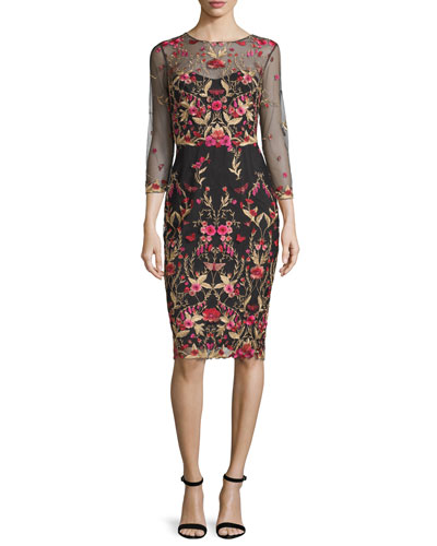 3/4-Sleeve Floral Embroidered Tulle Sheath Dress, Black