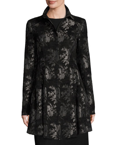 Floral Sublime Brocade Coat, Black