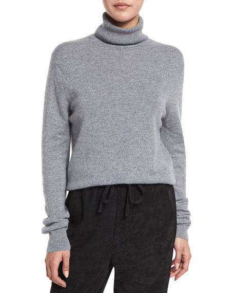 Cropped Cashmere Turtleneck Sweater, Heather Stone