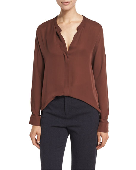 Silk Georgette Split-Neck Blouse