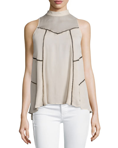 Sleeveless Paneled Silk Top, Buff