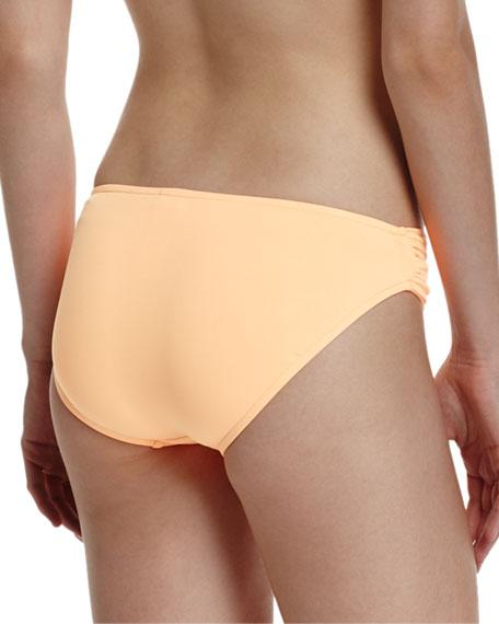 Twist-Band Hipster Swim Bottom, Neon Mango